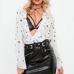 White Star Print Metallic Striped Bodysuit